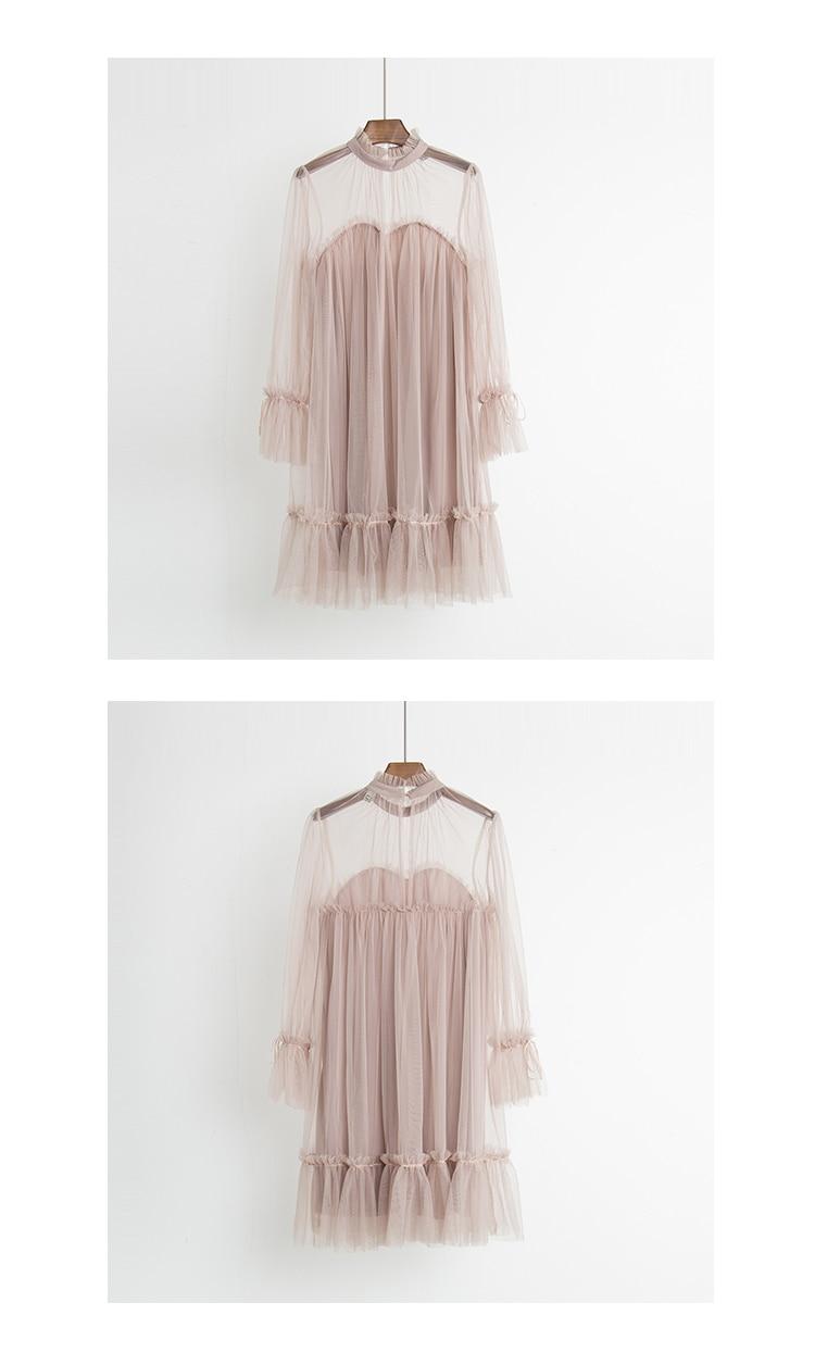 2017 Autumn new female elegant aesthetic loose gauze ruffle hem loose pleated one-piece dress women's doll dresses 6