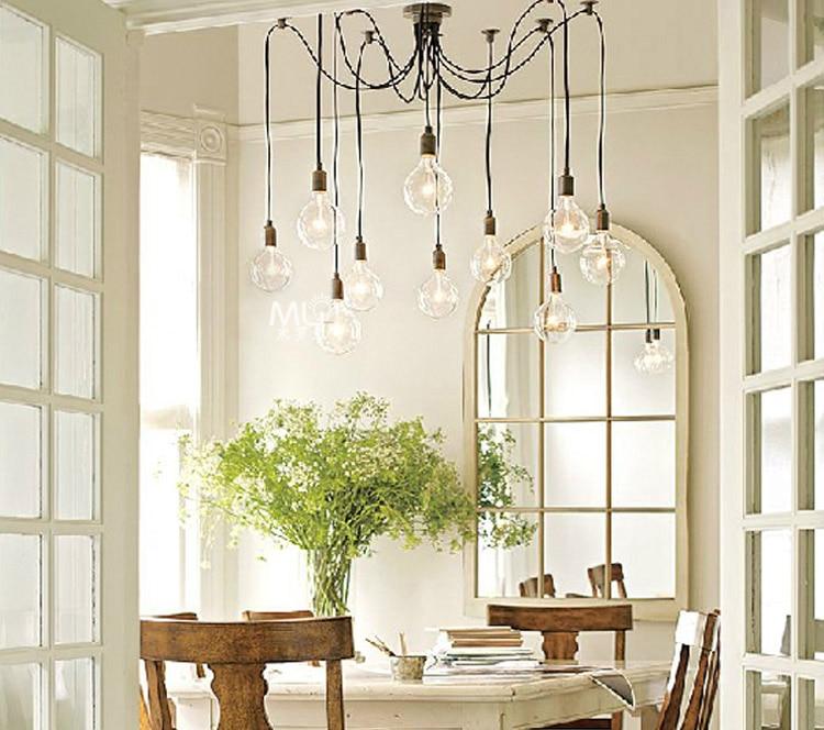 Loft American Vintage Pendant Lights Restaurant/Bedroom/Bar Lamp Country Industrial Edison Lamp 3/6/8/10/12/14/16 Light Home Dec 5