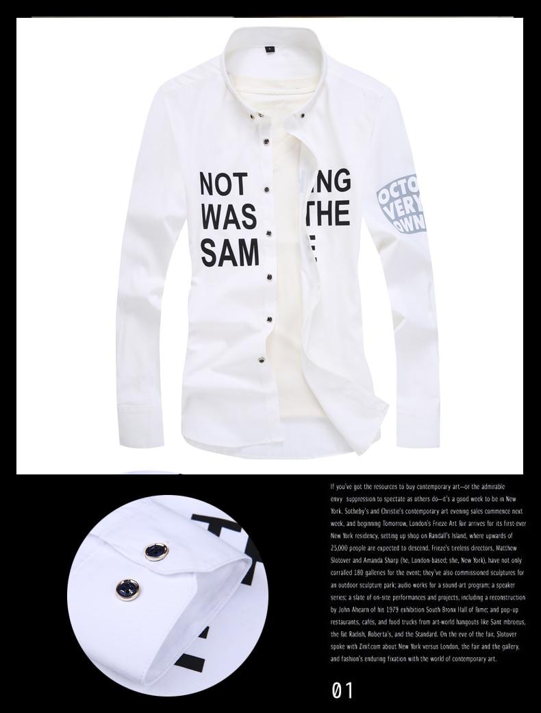Men long-sleeve shirt Korean style 2019 spring and autumn teenage boy fashion shirt male slim print letter blue black white 8