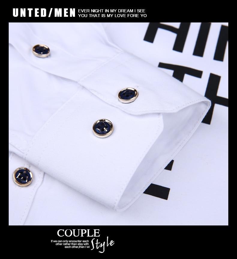 Men long-sleeve shirt Korean style 2019 spring and autumn teenage boy fashion shirt male slim print letter blue black white 13