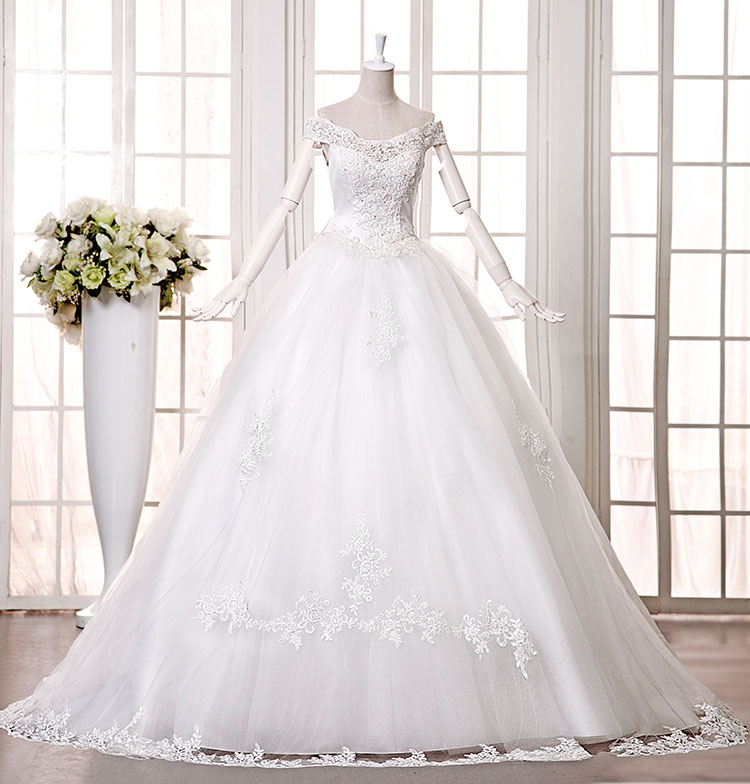 2496231a29c42 s 2016 new bride wedding dress autumn and winter dress slit neckline ...