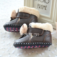 натуральная кожа зима хлопка-ватник туфли загущающие тепловые неразрешимости - противоскользящая обувь малыша снегоступы ребенка