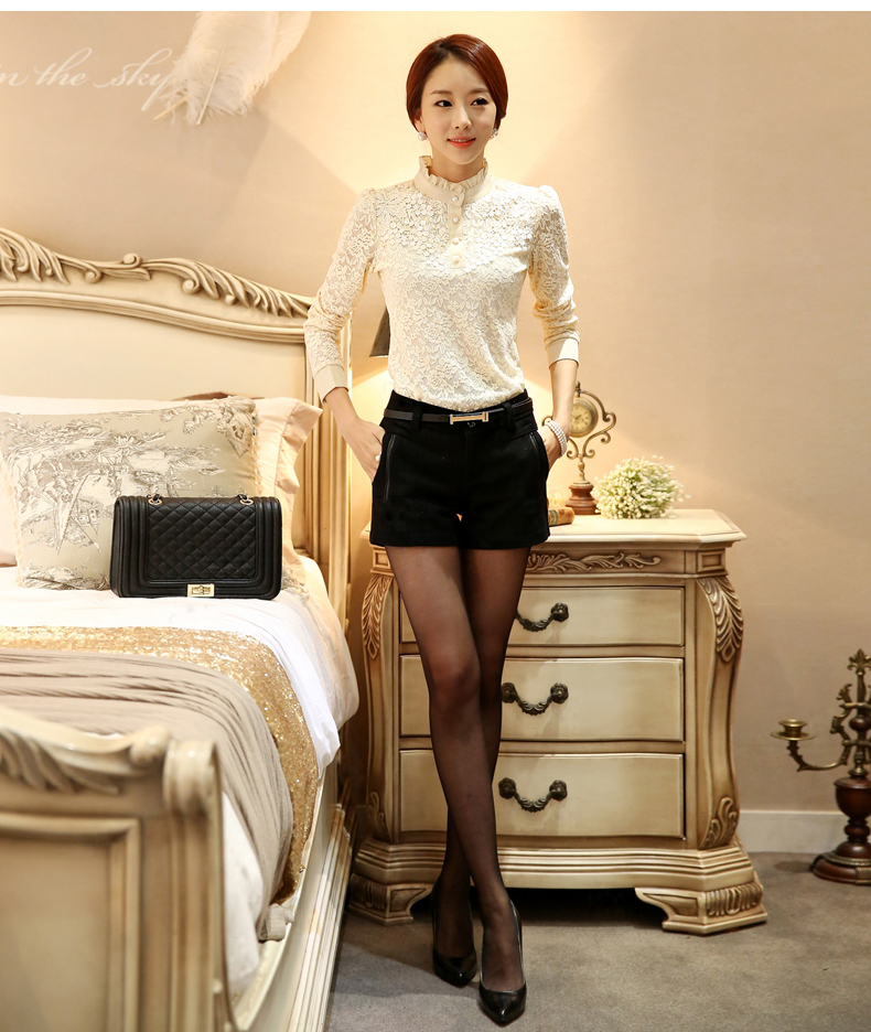 Long Sleeve Lace Floral Patchwork Chiffon Blouse Shirts (Us 2-16W)