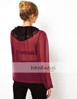 женская многослойные марли лоскутное женский с длинными рукавами шифон рубашка для оптовая продажа и бесплатная доставка