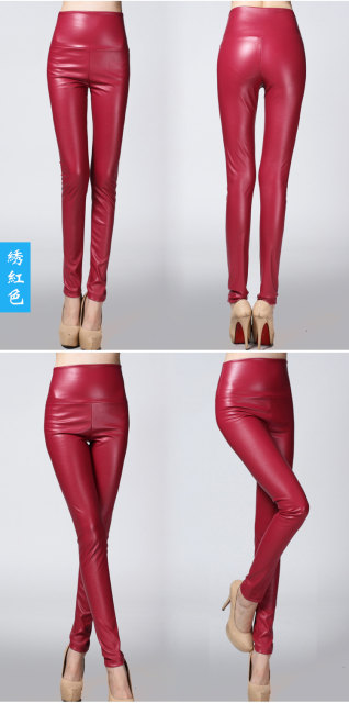 2017 Autumn Winter Women Elastic PU Leather Velvet High Waist Thick Warm leggings Slim Pencil Pants Colorful Trousers Female 29