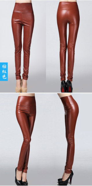 2017 Autumn Winter Women Elastic PU Leather Velvet High Waist Thick Warm leggings Slim Pencil Pants Colorful Trousers Female 31