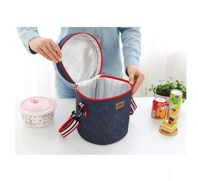 Cooler bags denim insulation handbag fresh food milk fruit package