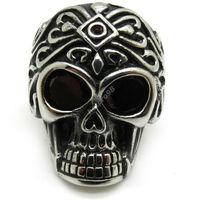 мужская рубин кристл глаза цветок череп кольцо байкер ювелирные изделия из нержавеющей стали новое поступление подарок