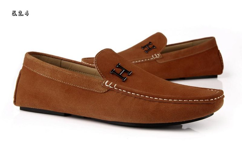 official images new lifestyle detailed images H Designer brand men leather shoes boat shoes casual leather shoes ...