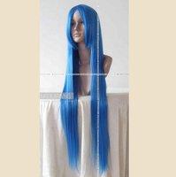 дополнение количество прочь со ~ 100 см синий длинные прямые партии костюма косплей парик, потому парик, бесплатная доставка