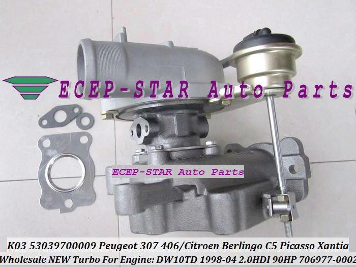 ECEP K03 53039700009 53039880009 706977-0002 VVP1 Turbocharger For PEUGEOT Partner 206 307 406CITROEN Berlingo C5 Picasso Xantia DW10TD 1998-04 2.0L HDI 90HP TURBO (1)