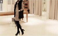 2015 бесплатная доставка новый модное тонкий женские осень - зима с большой размер черное пальто 7206