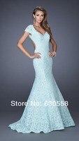 по заказу белый оболочка с V шеи кепка рукавом длиной до пола, спинки очаровательная выпускного вечера элегантное платье нарядное платье