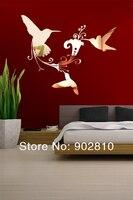 перечислены в наличии 63x52cm24.8х20.4В современные летающие птицы цветы зеркало наклейки спальня гостиная украшенияms361200
