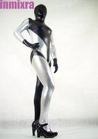 черный и серебро смешанные цвета блестящий металлический зентаи костюм женская
