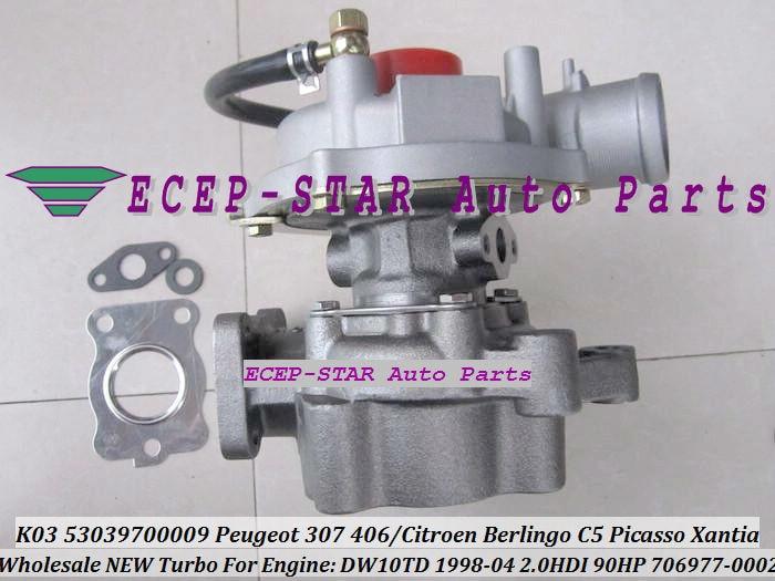 ECEP K03 53039700009 53039880009 706977-0002 VVP1 Turbocharger For PEUGEOT Partner 206 307 406CITROEN Berlingo C5 Picasso Xantia DW10TD 1998-04 2.0L HDI 90HP TURBO (3)
