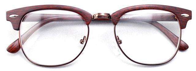 New Vintage Retro Red Wood Stripes Brow Line SHURON\'S Eyeglass Frame ...