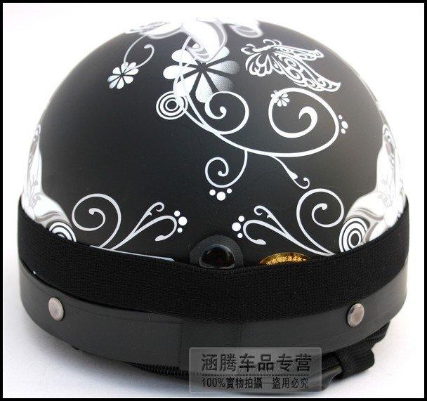 Matt Black Flower Decals Helmet Full Face Helmet Half Face Helmet - Motorcycle helmet decals