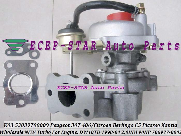 ECEP K03 53039700009 53039880009 706977-0002 VVP1 Turbocharger For PEUGEOT Partner 206 307 406CITROEN Berlingo C5 Picasso Xantia DW10TD 1998-04 2.0L HDI 90HP TURBO (4)