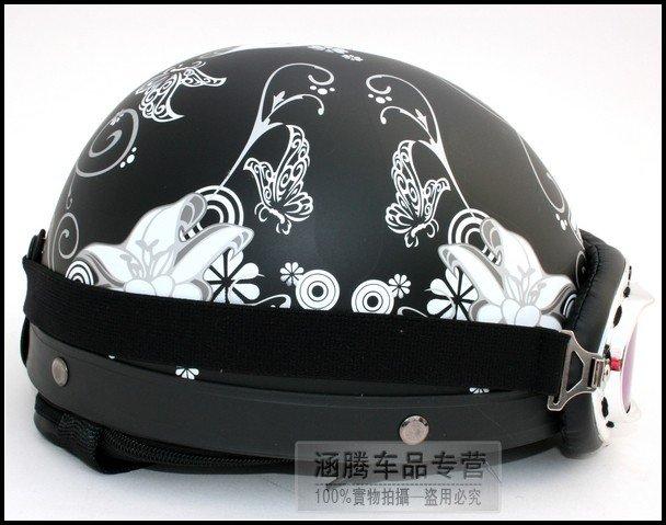 Matt Black Flower Decals Helmet Full Face Helmet Half Face Helmet - Motorcycle half helmet decals
