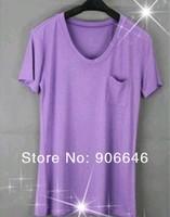 лето т - рубашки для женщины y136 маленькие карманы с круглым вырезом мягкий обработанная вискоза короткая длинными рукавами свободного покроя одежда