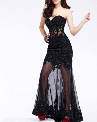 нью-Long черный приложение formal выпускного вечера ну платья полива