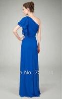 синий одно плечо драпированные складки-линии шифон длинное вечернее платье вечернее свадебное платье для матери жениха платья