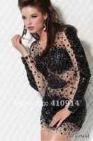 ослепительная выпускного вечера короткие платья бесплатная доставка на черный кристалл горный хрусталь чистой с длинным рукавом сексуальное миниое коктеила и нарядное платье