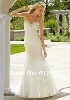 на заказ свадебные платья 2016 новый стиль милая суд поезд кот атласная кружево с бисером открытой спиной русалка свадебное платье