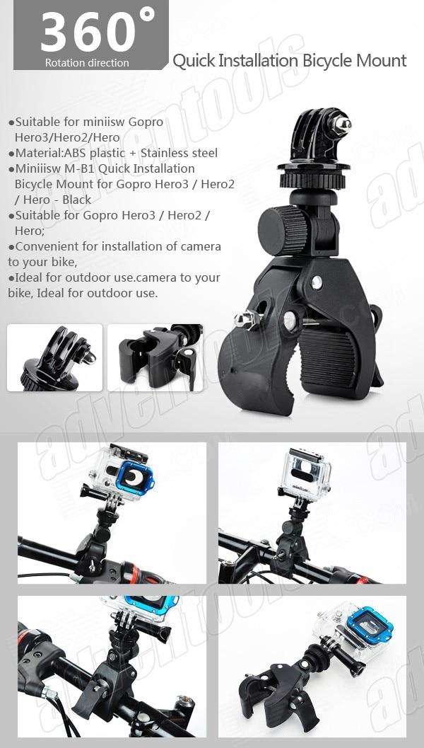 Gopro מהיר Plug and שחרור האופנוע הר הכידון הר אופניים fFast מהדק הר עבור Gopro Hero4 /hero3/hero2 /SJ4000/SJ5000