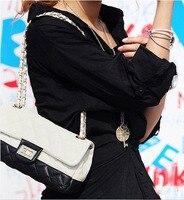 европа улица мода женская леди сумочка черный искусственная кожа на ремне, бесплатная доставка