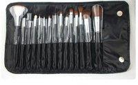 бесплатная доставка, бренд 15 шт. черный кисти+для+макияжа комплект и комплект, косметика макияж кисти комплект, включают кожаный чехол
