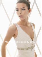 бесплатная доставка элегантный с V-образным вырезом органза свадебное платье свадебное платье