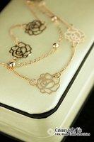 y28 элегантных женщин 18 к роуз ГП двойной слой цветок камелии бусины мода ожерелье