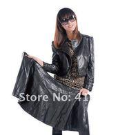 новый осень стиль леди моль моющийся клетку куртка пальто краткости верхняя одежда длинные ПУ кожаные куртки меховой одежды