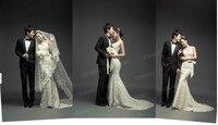 2016 новое поступление свадебное платье царский поезд рыбий хвост платья французский кружева