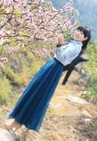 дамы 9 ярды подол шифон длинная юбка эластичный пояс полный круг летающий бохо 10 цвета черный фиолетовый фиолетовый павлин синий