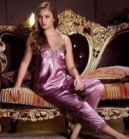 бесплатная доставка сексуальное шелковый атлас с вышивкой и кружевами 3 шт. костюм халат пижамы комплект пижамы большой размер гостиная на 2XL прямая поставка