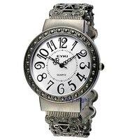 Ретро круглый большое лицо таблицы картина группа античная элегантных женщин дамы кварцевые браслет часы бесплатная доставка Кимио новый