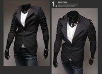 мужчины святого марка пиджак асимметричный костюм косой смокинг куртка черный подходящий тип м-XXL 3331