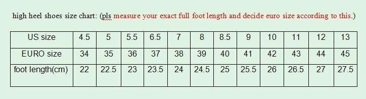 high heels size chart