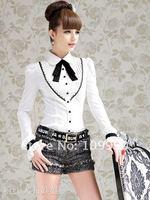 s / м / L / хl хлопок женщины рубашка нижнее белье колледж перевязка раза полный - рукав буф блузка верхний леди пр