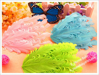 16 шт. 8 цвета один перо цветок девочка детские волосы малыша bore Hole для повязка на голову нет haircip