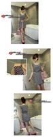 новый женщин дамы шифон рукавов поясом с коротким мини конькобежец платье 2 стиль a834