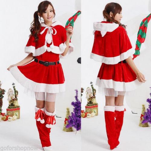 New Cute Miss Santa Claus Mrs Christmas Hooded Cape Fancy Dress ...