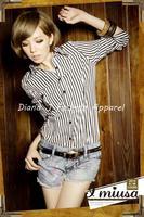 плоская ветер мод и свободного покроя красивый прямо negro блузка / рубашка