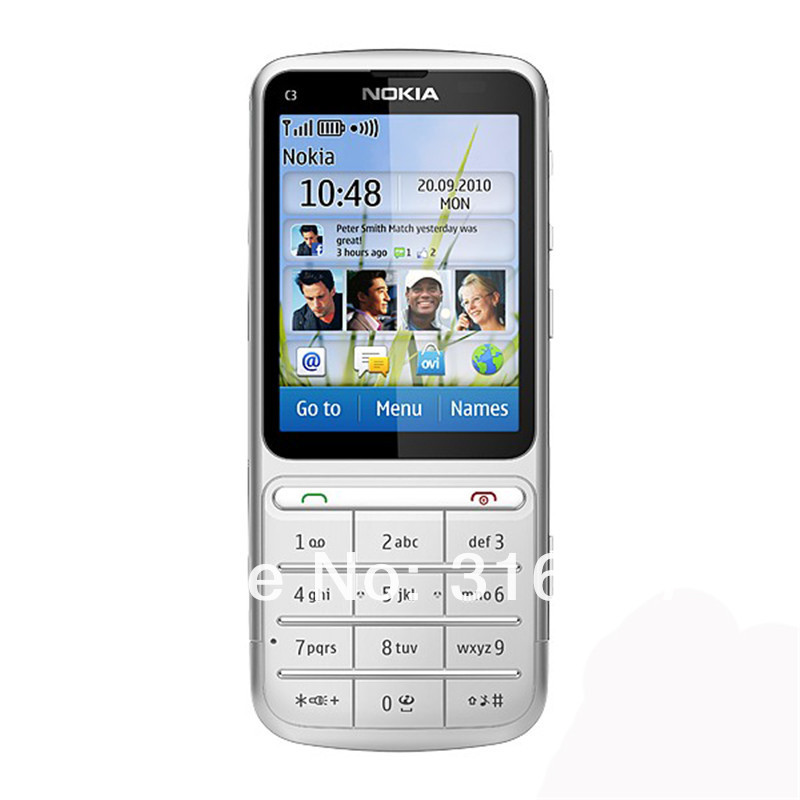 Refurbished phone Nokia C3-01 Touch and type 5MP Wi-Fi FM radio Touchscreen cell phone grey 2