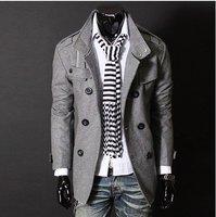 горячая распродажа свободного покроя мужская куртка мужская двойной взвод пристегнуться лилин жетоны пальто пыли мужской пальто цвет : черный, серый размер : М-XXL