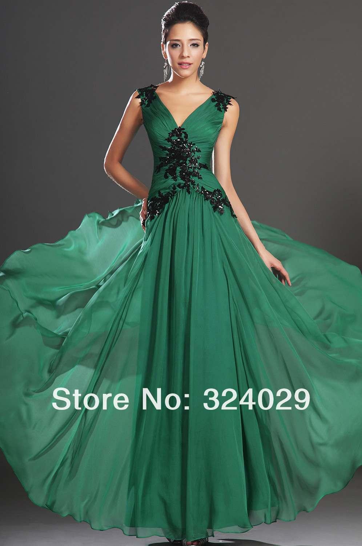 Envío gratis nueva llegada elegantes verde gasa vestidos de noche ...
