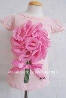 114 оптовая бесплатная доставка последние Rose девушки футболки девушка топ с Корк рукавом 5 шт./лот
